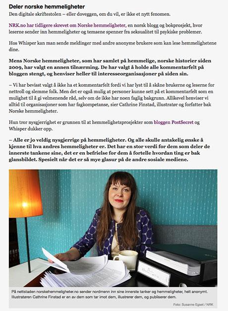 Skjermdump fra nrk.no. Artikkelen er skrevet av  Cathrine Elnan, arkivfoto av Susanne Egset.