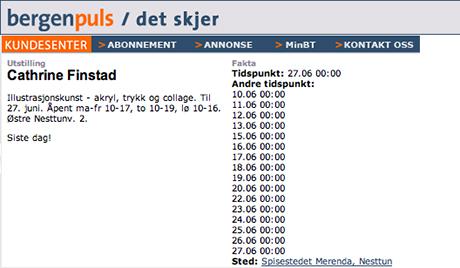 Notis i Bergens Tidende.