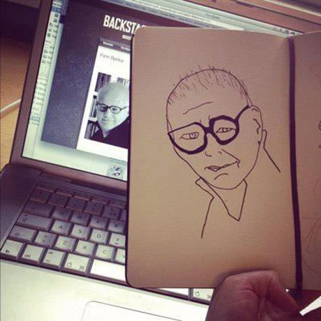 Finn Bjelke fikk en side i skisseboka mi i 2012.