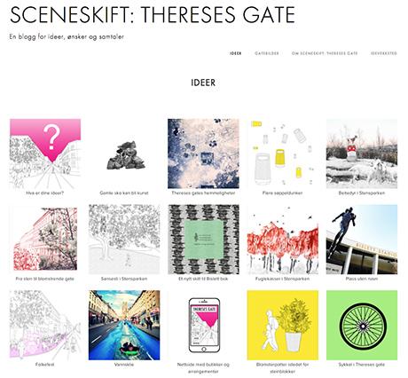 På nettsiden sceneskift.no kan alle sende inn sine ønsker og forslag om hva de ønsker skal skje i Theresesgate. kilde: sceneskift.no