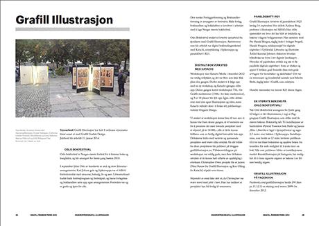 Årberetningen med 2 sider om faggruppa Grafill Illustrasjon og aktivitetene arrangert i 2013.
