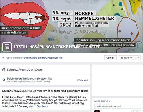 Deichman Majorstua har opprettet event for utstillingen som åpner 30. august kl. 13:00.
