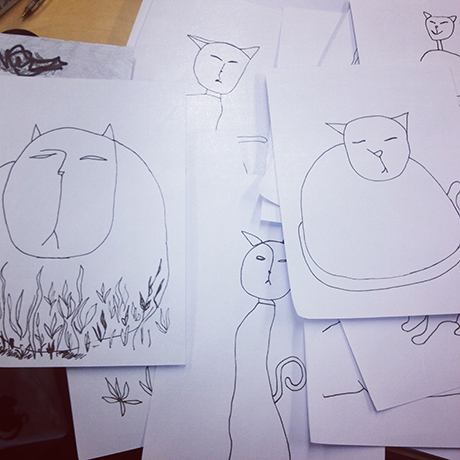 Tema for fanzinen vi skal lage har med katter å gjøre. Her er mine skisser.