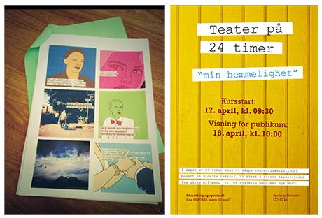 Et utvalg av hemmeligheter i prosessen og ferdig plakat om arrangementet i april.
