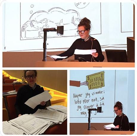 Praktisk oppgave gjennomgås under Kunst- og håndverkskonferansen 2015. (kilde: @livdahlin /Instagram)