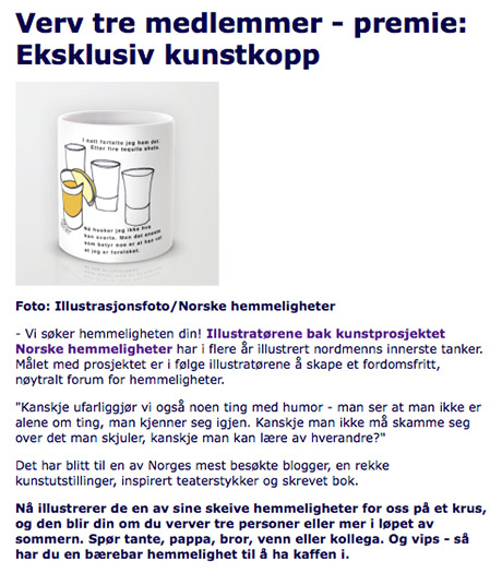 Ekklusiv kopp. her med illustrasjonsfoto fra nettbutikken på society6.com/desillustrert hvor flere kopper er for salg. (kilde:skjermdump fra llh.no)