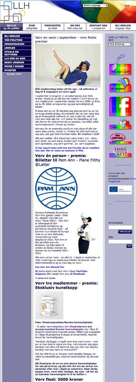 Det er vervekampanje på LLH sine nettsider. (kilde: skjermdump llh.no)