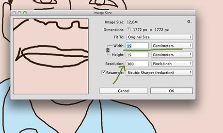 Endrer jeg til cm ser jeg atmin fil tilsvarer 15 x 15 cm i 300 dpi.