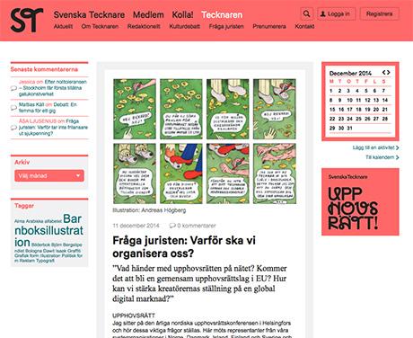 Svenska Tecknare og spalten Fråga juristen skriver om opphavrett og viktigheten av å organisere oss.