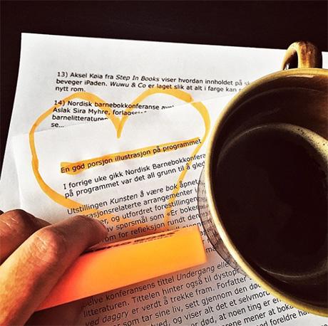Lest markert og ferdigskrevet. Klar for kaffepause!