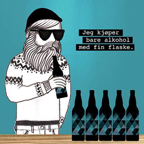 Hipsterskjegg og øletiketter illustrert av Gunveig Staven