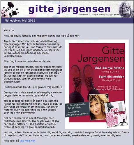 Rød flyer integret i Gitte Jørgensens nyhetsbrev.