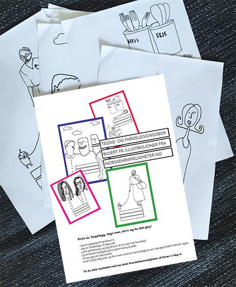 Tegne- og fargeleggingsboka til NORSKE HEMMELIGHETER består av 10 sider som kan printes ut igjen og igjen!