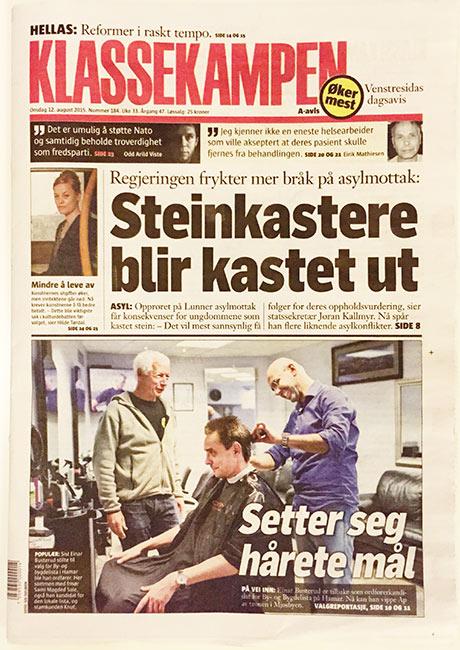 Forsiden på avisen som inneholdt hemmeligheter...
