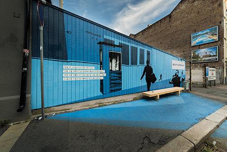 En blå vegg på Bislet. I samarbeid med Kollaboratoriet.