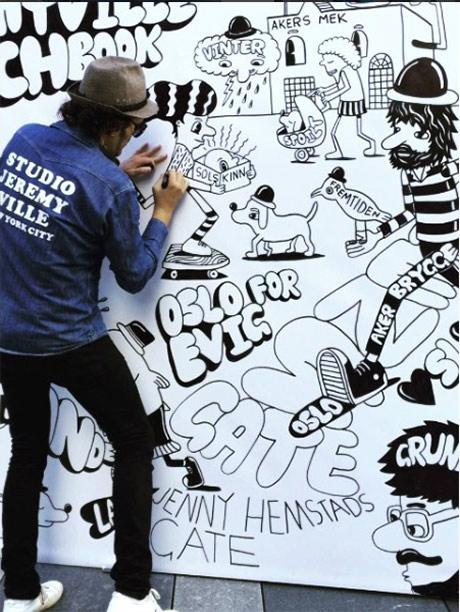 Jenny Hemstads gate er inkludert i kunstverket laget av Jeremyville på Aker brygge i helga. (kilde: Studio Jeremyvilles Instagram)