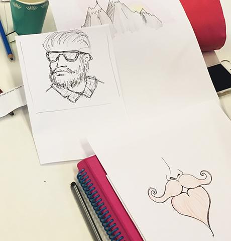 28f_skjegg_HiOA_digital_kunst_CathrineLouiseFinstad_desillustrert_illustrasjon_foredragsholder