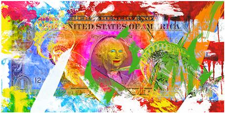 Kreative yrker og penger er kanskje en kunst...  (Illustrasjon Paky Gagliano/Society6) Vil du ha kunstige penger på veggen kan du kjøpe det her! For ordens skyld: kjøp via linken støtter både kunstner og denne bloggen.