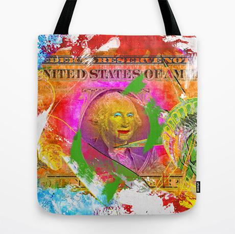 Hvem ha´kke ønska seg en bag med penger? Det kan du få her! (illustrasjon: Paky Gagliano/Society6) For ordens skyld:kjøp via linken støtter både kunstner og denne bloggen.