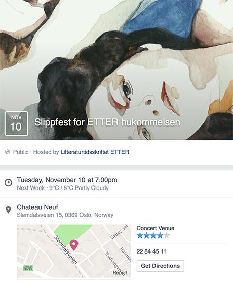 I dag er det slippfest for nyeste nummer av litteraturtidsskriftet ETTER. Her er skjermdumpen av facebookeventet med illustrasjon av Maria Pohl.